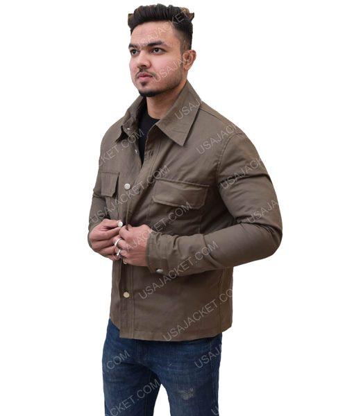 Dark Brown Men's Cotton Double Pocket Jacket