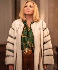 Kim Cattrall Filthy Rich Margaret Monreaux Faux Fur Long Coat