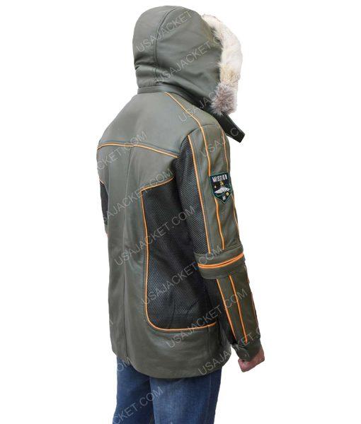 Men's Green Parka Leather Jacket