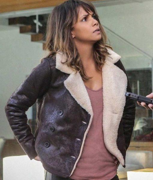 Halle Berry Extant Shearling Brown Aviator Jacket