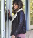 Halle Berry Extant Shearling Brown Aviator Leather Jacket