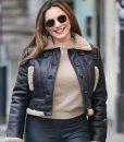 Heart Radio Studios Kelly Brook Shearling Leather Jacket