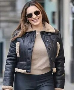 Heart Radio Studios Kelly Brook Shearling Leather Jacket
