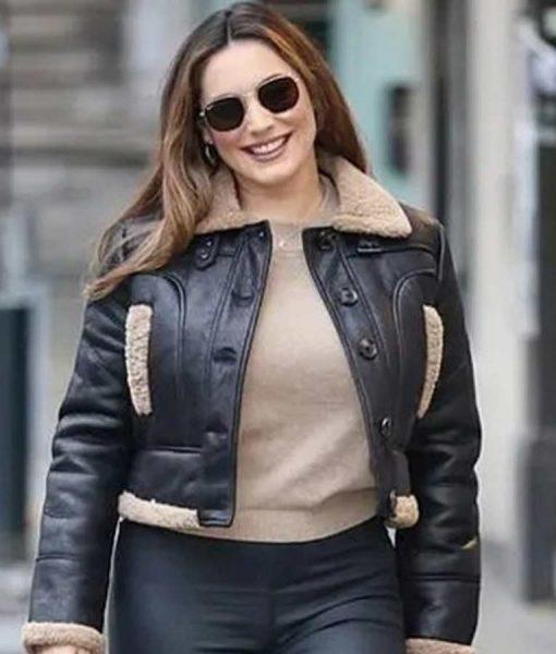 Heart Radio Studios Kelly Brook Aviator Leather Jacket