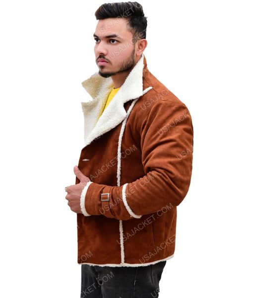 Men's Ivory Shearling Suede Leather Jacket