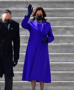 Kamala Harris Blue Wool-blend Trench Coat