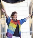 Kamala Harris Gay Pride Flag Denim Rainbow Jacket