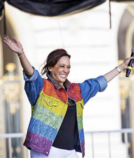 Kamala Harris Gay Pride Flag Jacket