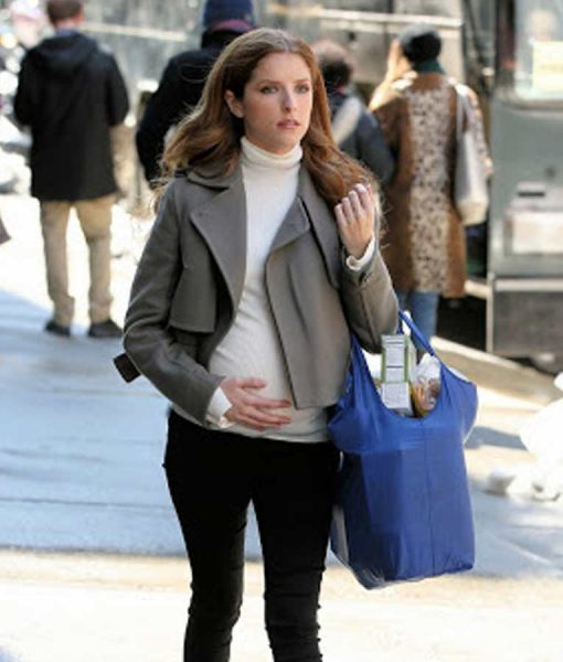 Anna Kendrick Wool-blend Love Life Darby Grey Cropped Jacket