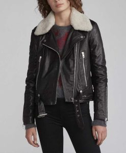 Zoe Chao Love Life Motorcycle Leather Jacket With Sherpa Collar