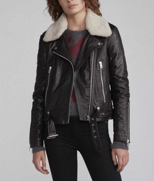 Love Life Sara Yang Black Motorcycle Leather Jacket With Sherpa Collar