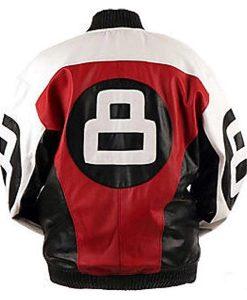 Men's 8 Ball Logo Bomber Multicolor Leather Jacket