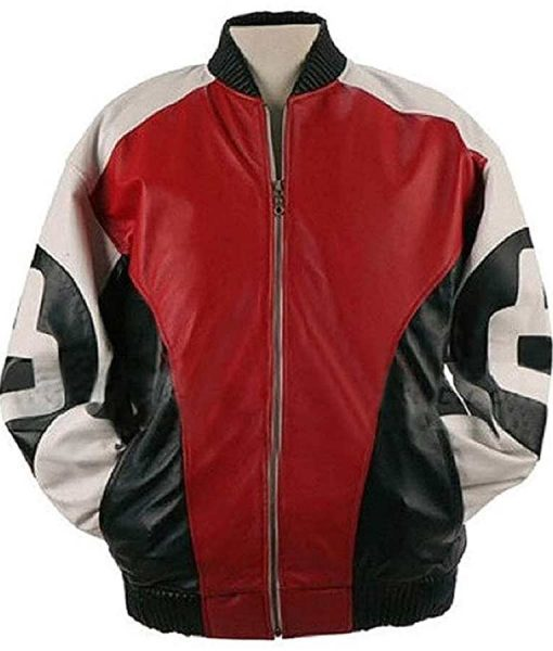 Men's 8 Ball Logo Bomber Leather Jacket