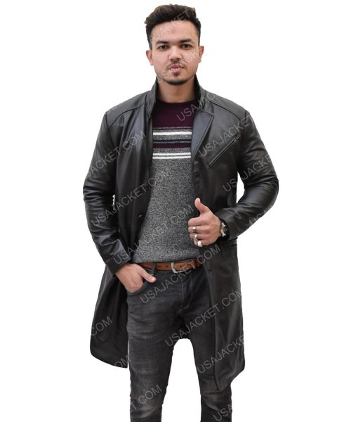 Black Leather Mid-Length Coat