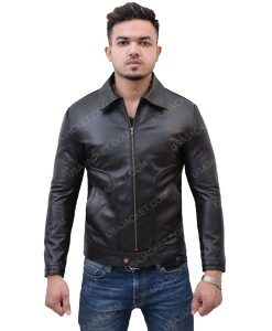 Turn-Down Collar Black Leather Jacket