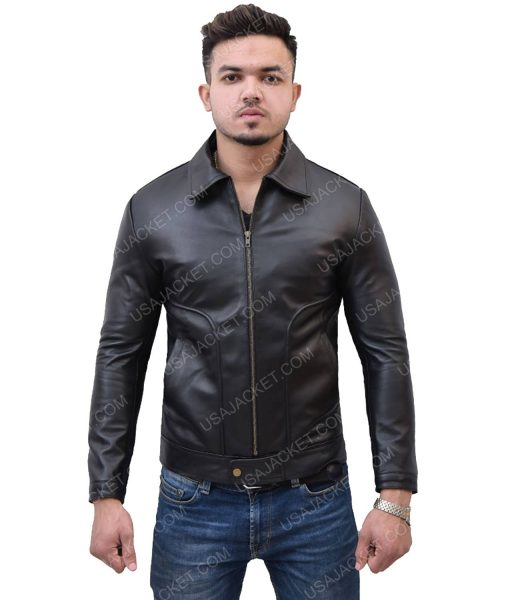 Men's Black Leather Jacket With Turn-Down Collar