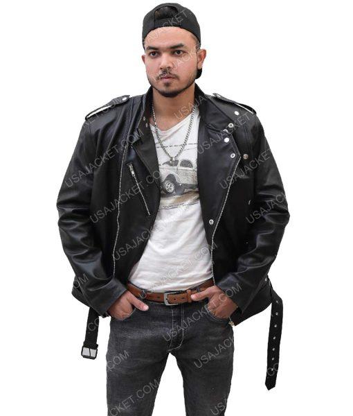 Men's Black Leather Motorcycle Jacket