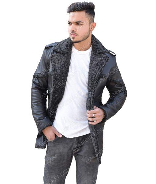 Men's Black Shearling Leather Jacket