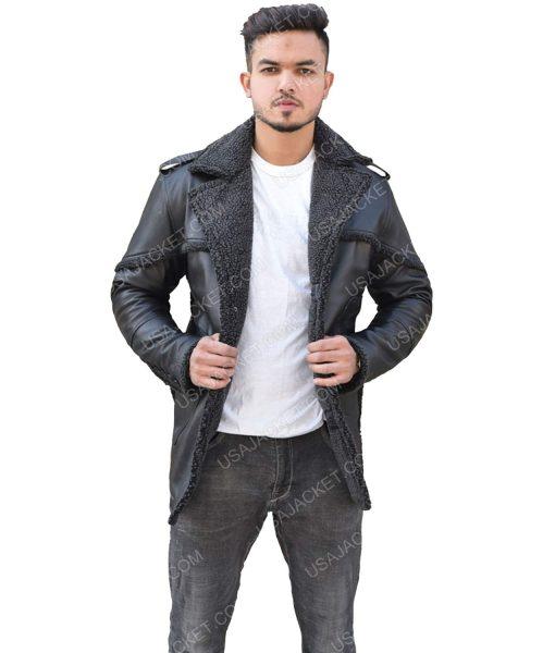 Men's Black Leather Shearling Jacket