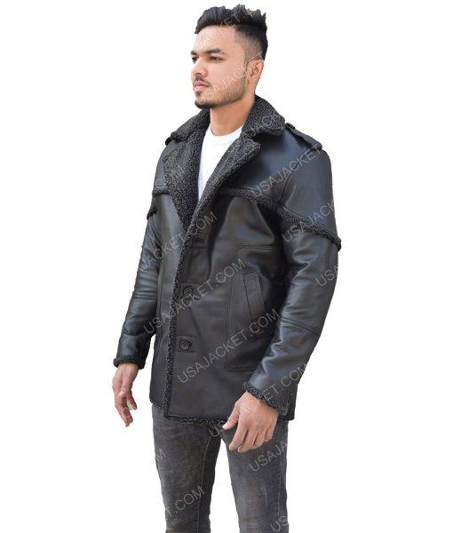 Men's Black Leather Shearling Trim Jacket