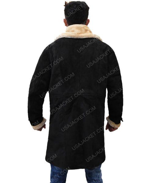 Men's Black Velvet Ivory Fur Coat