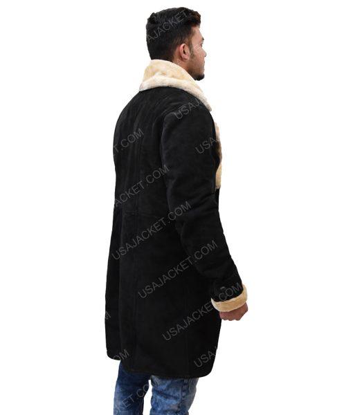 Men's Black Velvet Ivory Fur Trench Coat