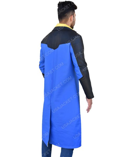Men's Blue and Black Trench Coat