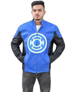 Men's Black and Blue Leather Jacket