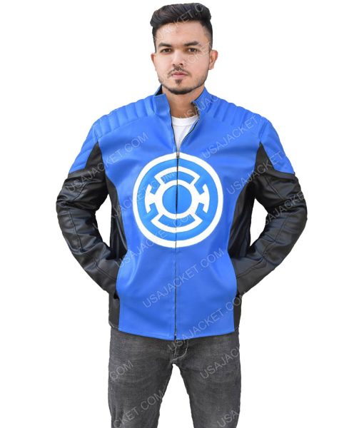 Men's Black and Blue Stand-up Collar Leather Jacket