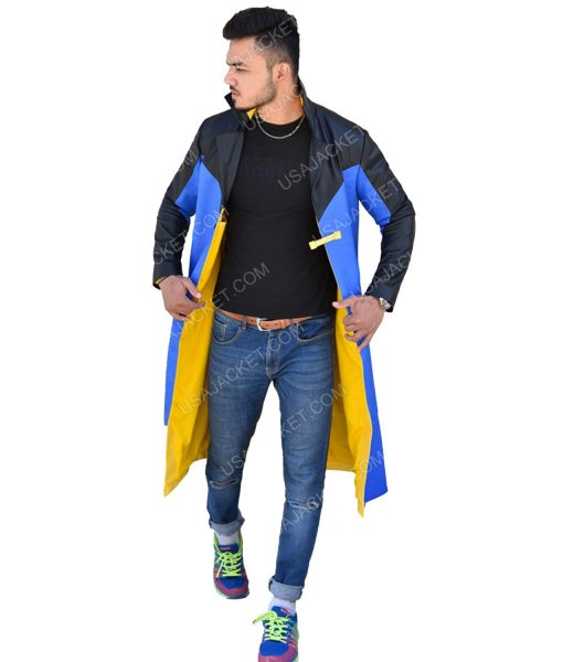 Men's Black and Blue Long Coat
