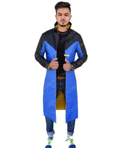 Men's Blue and Black long Coat