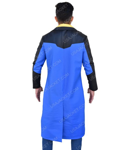 Men's Blue and Black Coat