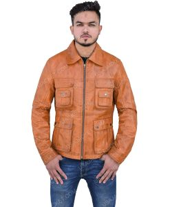 Men's Brown Leather Jacket With Turn-down