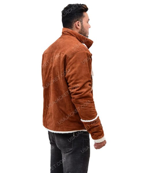 Ivory Shearling Brown Suede Leather Jacket