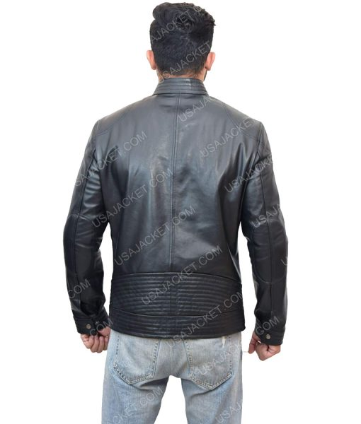Men's Black Leather Cafe Racer Jacket