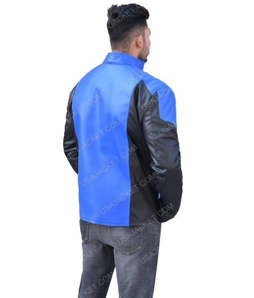 Men's Blue and Black Leather Jacket