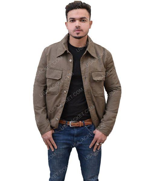 Men's Cotton Double Pocket Dark Brown Jacket