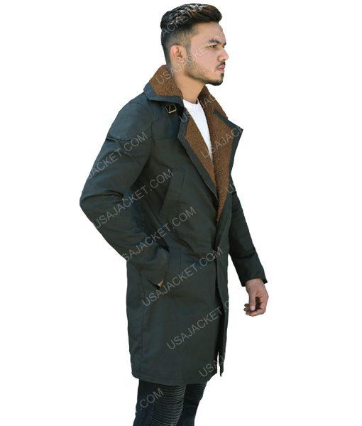 Men's Dark Green Cotton Long Coat