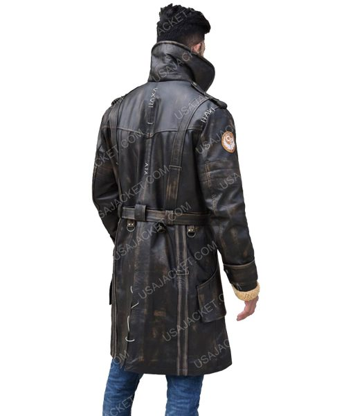 Distressed Brown Leather Men's Mid-Length Coat