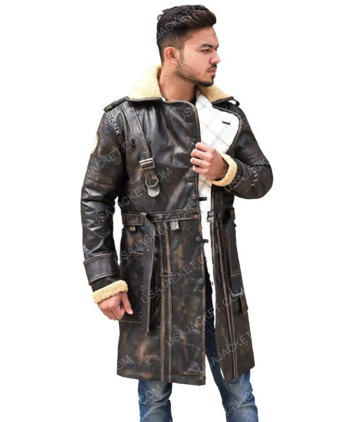 Men's Distressed Brown Leather Mid-Length Coat