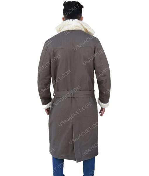 Men's White Fur Collar Grey Cotton Trench Coat