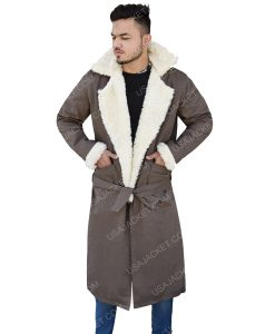 Men's Fur Collar Grey Cotton Long Coat
