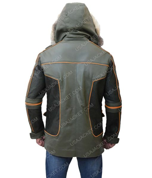 Green Parka Leather Jacket