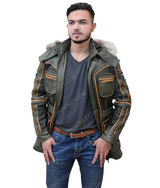Men's Green Leather Jacket With Fur Hood