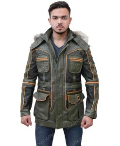 Men's Green Leather Parka Jacket