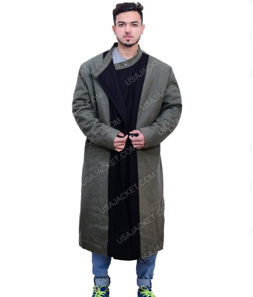 Men's Green and Black Trench Coat