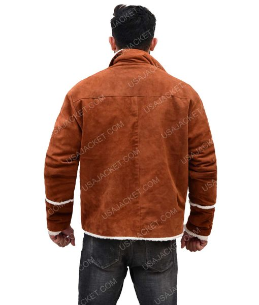 Men's Brown Suede Leather Ivory Shearling Jacket