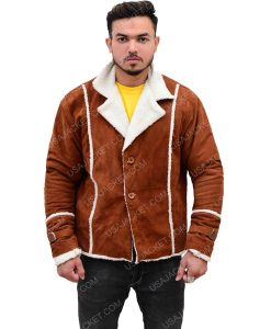 Men's Ivory Brown Suede Leather Jacket With Shearling Trim