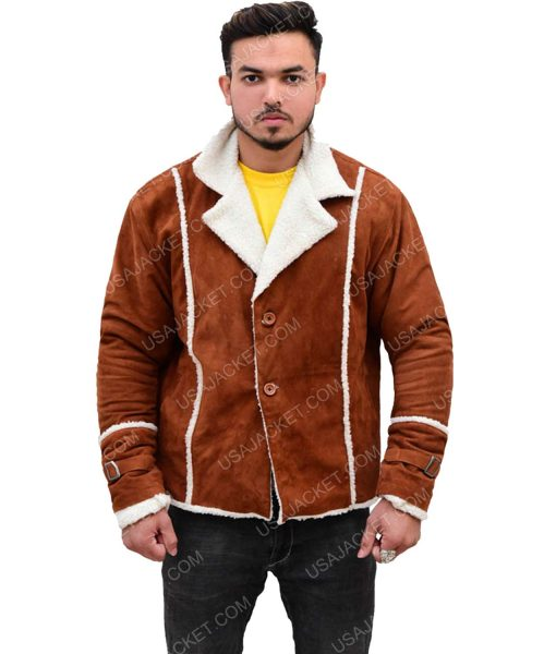 Men's Ivory Brown Suede Leather Shearling Jacket