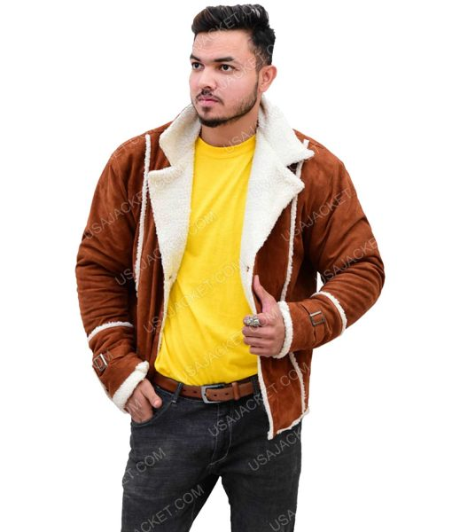 Men's Ivory Shearling Brown Suede Leather Jacket